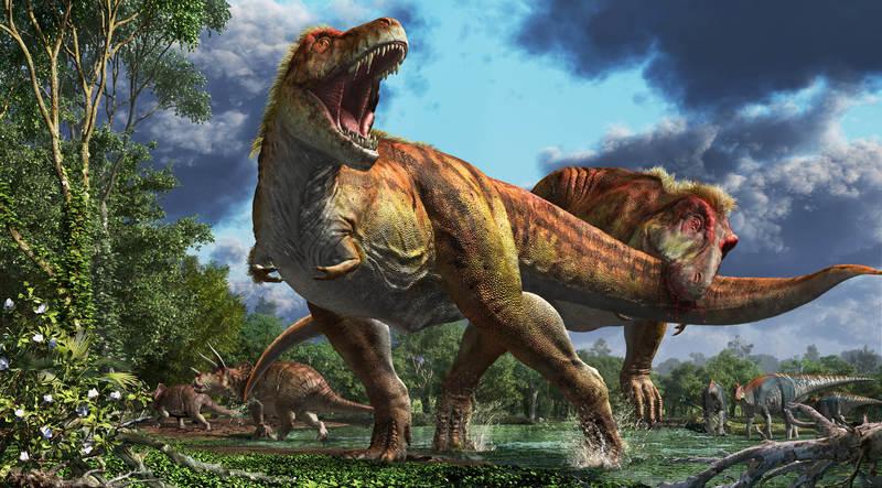 噛みつかれるティラノサウルス